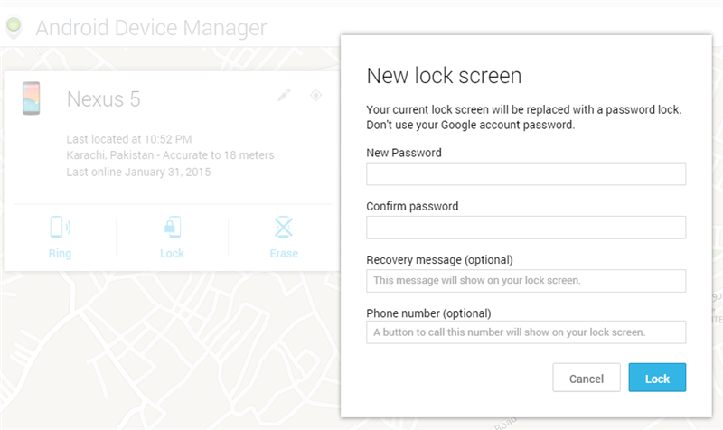 Google Device Manager - Lock